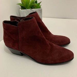 Sam Edelman Petty Short Burgundy Suede Booties
